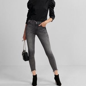 Express Gray Ankle Legging Raw Hem High Rise Jeans
